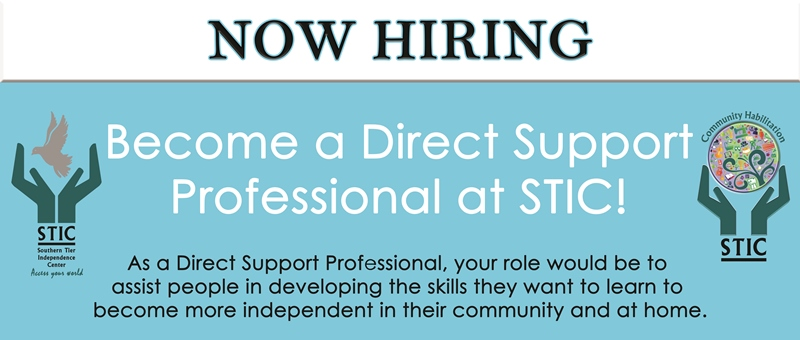 Now Hiring Banner that says become a direct support professional at STIC