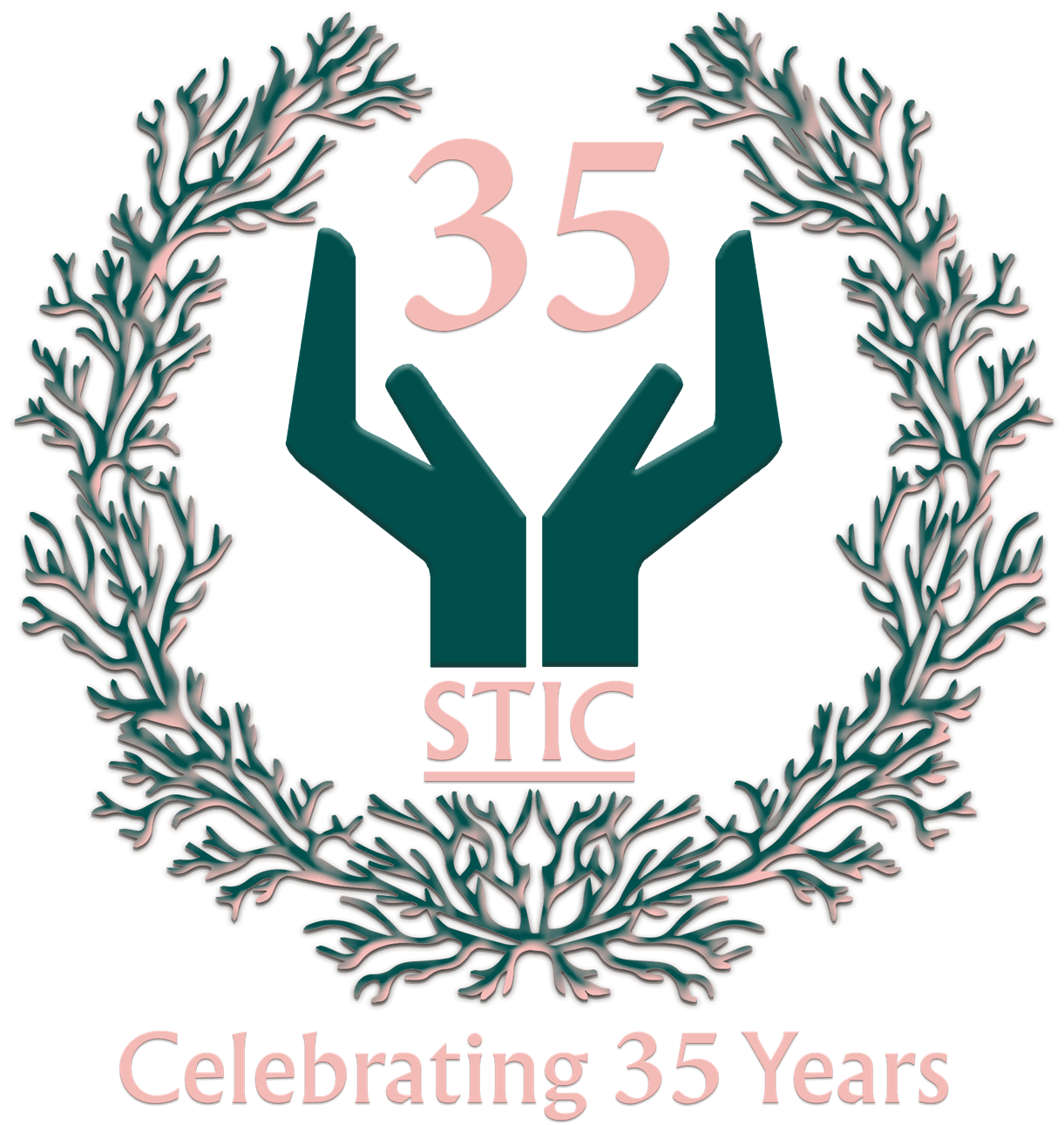 35 year logo, with coral reef laurel and stic logo hands holding the number 30