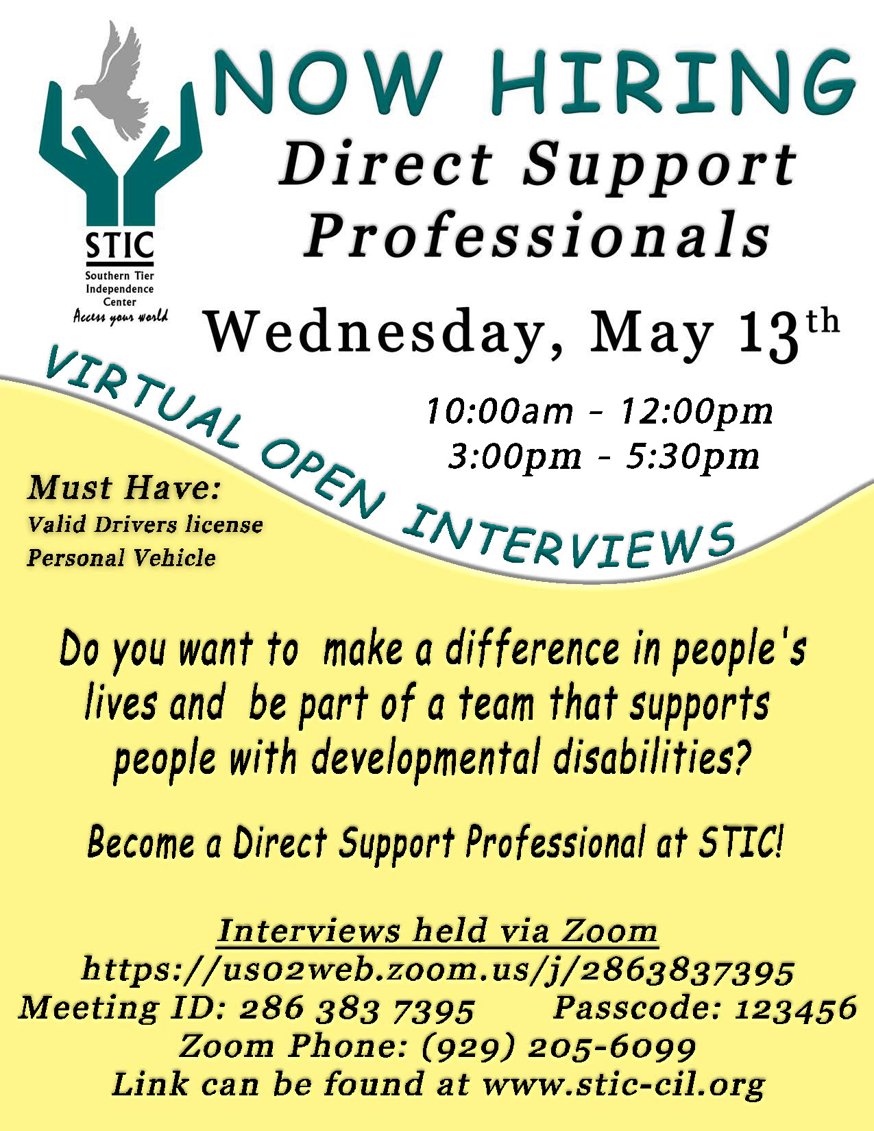 Poster showing there is a Virtual Open Interview Event happening on May 13th 10am to 12pm and 3pm to 5:30pm. Click the poster to open the zoom link.